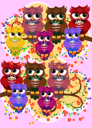 Cute beautiful flirtatious owls on the tree with a cup of steaming coffee, tea or chocolate Ilustração