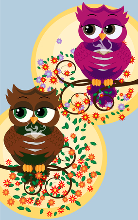 Cute beautiful flirtatious red owls on a branch with a cup of steaming coffee, tea or chocolate Vectores
