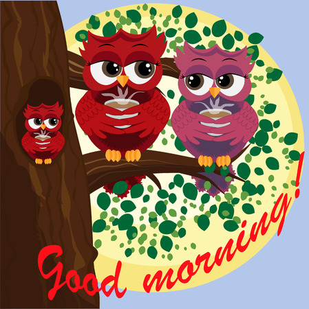 Cute beautiful flirtatious owls on a branch with a cup of steaming coffee, tea. Inscription Good morning! Ilustração