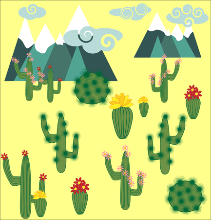 Cactus and succulent vector set. Cactuses, agave, and opuntia Illustration