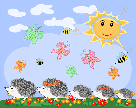 A family of five cute cartoon hedgehogs on a spring, summer day Illustration