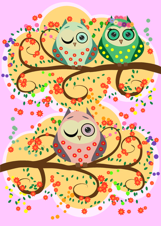 Bright and flirtatious loving owls on the flowering branches of a tree.