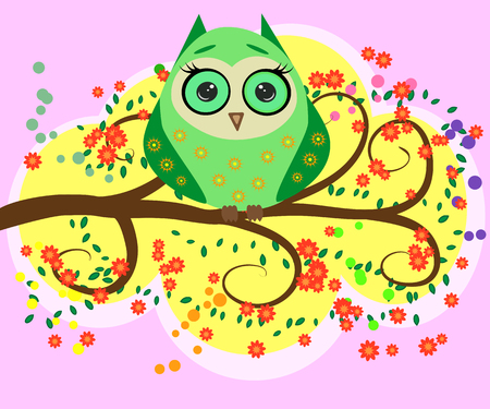Bright, flirtatious, loving owls on the flowering branches of a tree.