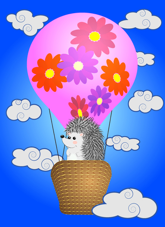 A cute little hedgehog in a flying colorful balloon.