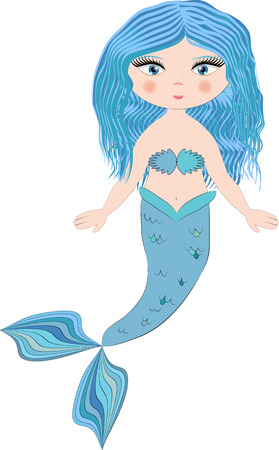 A cartoon, pretty mermaid with blue hair and a forked tail