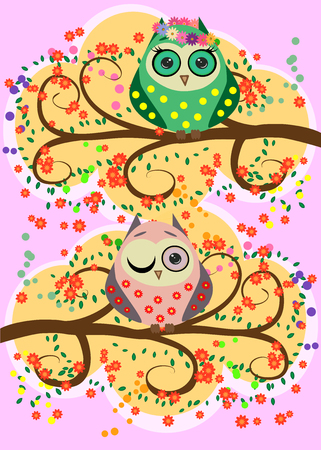 Cartoon image owls illustration