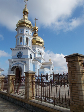 Gold dome of the Orthodox church against the blue sky. Gorbanev church