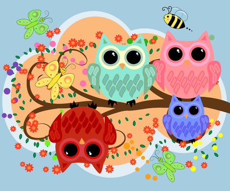 Happy family of owls on flowering tree branches in cartoon illustration. Illustration