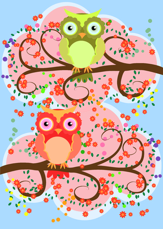 Bright, cartoon, loving owls on the flowering branches of a tree.