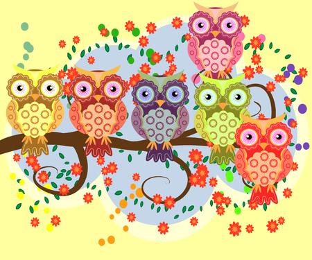 Bright, cartoonish, flirtatious, loving owls on the flowering branches of a tree. Spring or summer season. Çizim