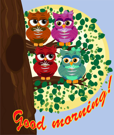 Cute beautiful flirtatious owls on a branch with a cup of steaming coffee, tea. Ilustração