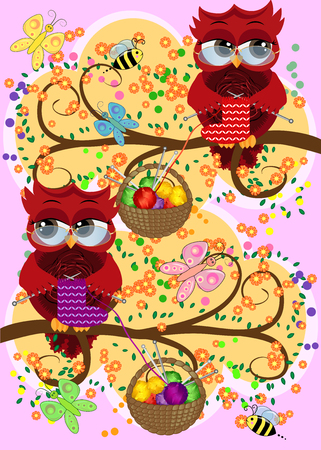 A red flirtatious owl in glasses sits on a branch and knits a red and white sock, Basket with colorful balls hangs on a branch Çizim