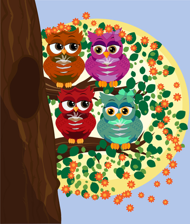Cute beautiful flirtatious owls on a branch with a cup of steaming coffee, tea. Çizim
