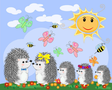 A family of five cute cartoon hedgehogs and a ladybird on a seven-color rainbow on a spring, summer day