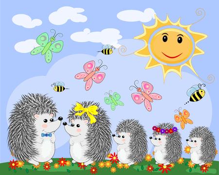 Eine Familie von fünf niedlichen Cartoonigeln und von Marienkäfer auf einem Regenbogen mit sieben Farben an einem Frühling, Sommertag