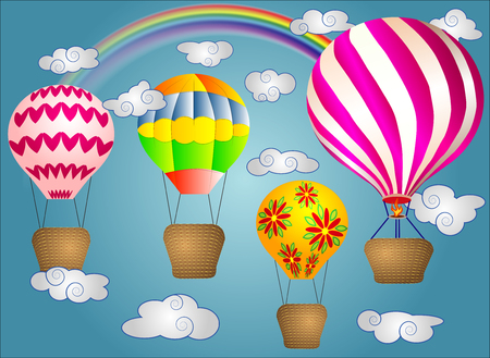A few Vivid, cartoonish, large volumetric balloons with a basket in the sky amidst white clouds and a rainbow. Flying, happiness, freedom. Ilustrace