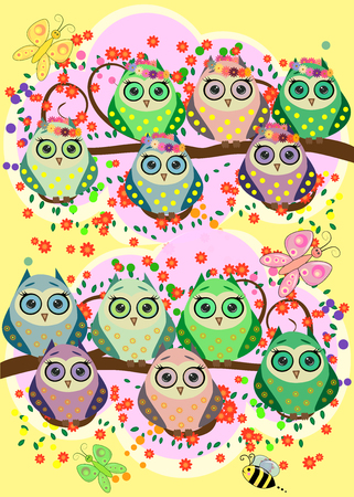 Bright, cartoonish, flirtatious, loving owls on the flowering branches of a tree. Spring, summer, girlfriends.