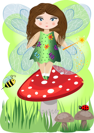 A small, cartoon fairy with a magic wand and wings landed on the fly agaric, illustration, postcard