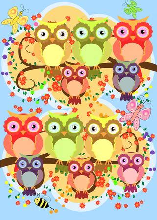 A happy family of owls on flowering tree branches