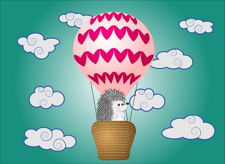 A cute little hedgehog flies into cartoons, a large bulky balloon with a basket in the sky amidst white clouds and a rainbow. Flying, happiness, freedom