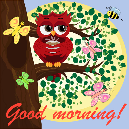 Cute beautiful flirtatious owl on the tree with a cup of steaming coffee, tea or chocolate. Inscription Good morning