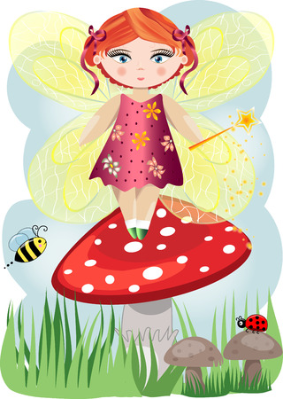 A small, cartoon fairy with a magic wand and wings landed on a mushroom, illustration, postcard.