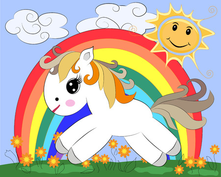 A small white cartoon pony on a glade with a rainbow, flowers, sun. Illustration