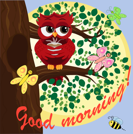 Cute beautiful flirtatious owl on the tree with a cup of steaming coffee, tea or chocolate. Inscription Good morning Vector illustration.