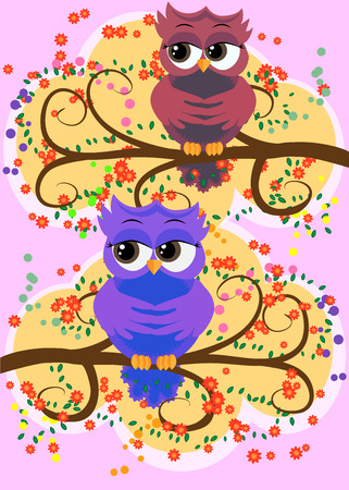 A family of colorful, bright, lovely cartoon owls on the branches of flowering trees. Vector illustration. Ilustração