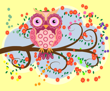 Bright, cartoon illustration owl on the flowering branches of a tree. Çizim