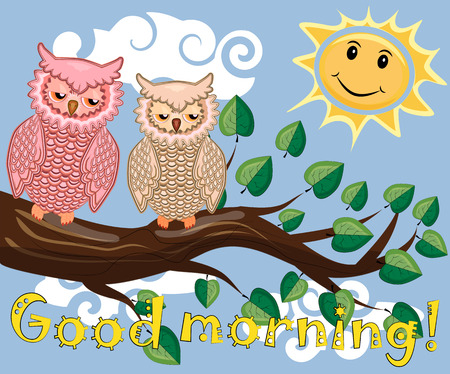 An unhappy, sleepy owl on a tree branch in the morning, the sun shines and smiles with inscription, good morning.