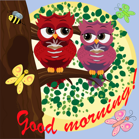 Cute beautiful flirtatious owls on the tree with a cup of steaming coffee, tea or chocolate. Inscription Good morning