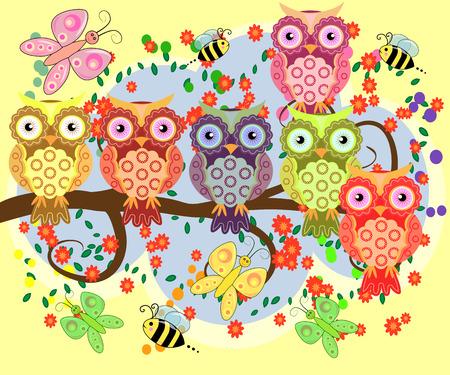 Bright, cartoonist, flirtatious, loving owls on the flowering branches of a tree. Spring, summer, girlfriends