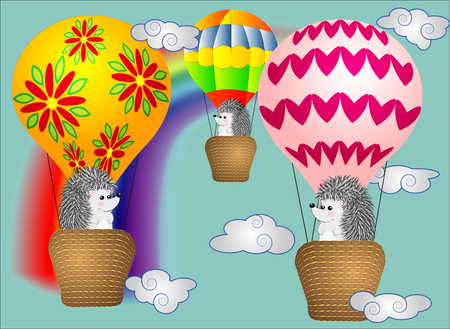 Lovely little hedgehogs fly into cartoons, large bulky balloons in the sky amidst white clouds and a rainbow.