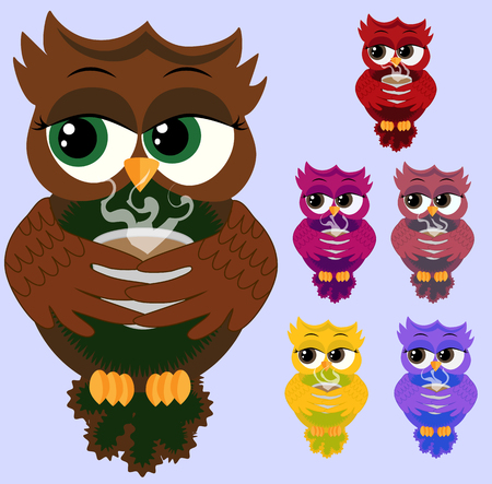 Cute beautiful owls with cups of steaming coffee, tea or chocolate vector illustration set