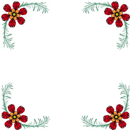 Ornamento floreale agli angoli dell'illustrazione di vettore della cartolina Archivio Fotografico - 96606273