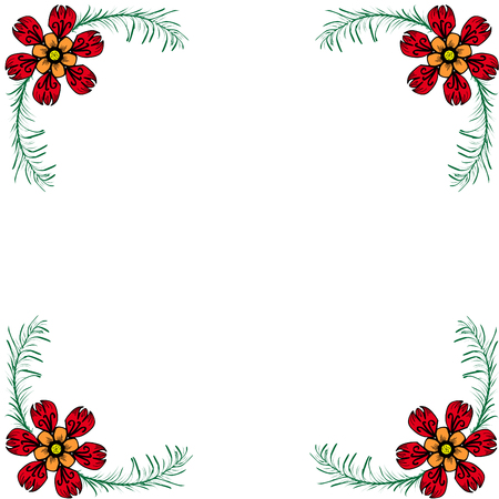 Floral ornament on the corners of the postcard vector illustration