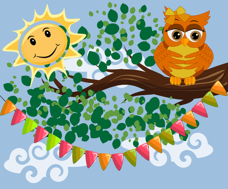 An unhappy, sleepy owl on a tree branch in the morning with a sun vector illustration