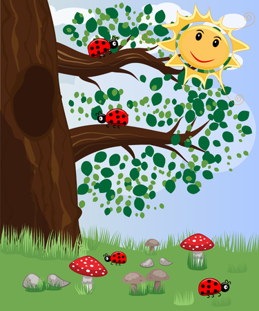 Forest landscape, cartoon illustration with ladybirds, mushrooms, mushrooms, sun, butterflies. Children's style, greeting card. Vectores