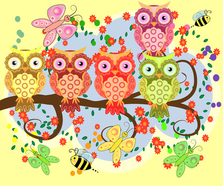 Bright, cartoonist, flirtatious, loving owls on the flowering branches of a tree. Spring, summer, girlfriends