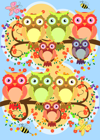 A happy family of owls on flowering tree branches, moms and children.  Vector illustration.