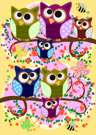 Happy family of owls on flowering tree branches.
