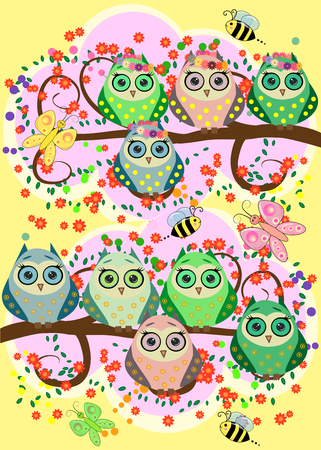 Bright cartoon, flirtatious loving owls on the flowering branches of a tree. Spring, summer, girlfriends illustration.
