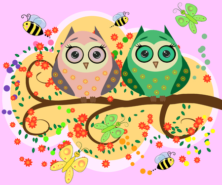 Bright, cartoonish, flirtatious, loving owls on the flowering branches of a tree. Vector illustration.