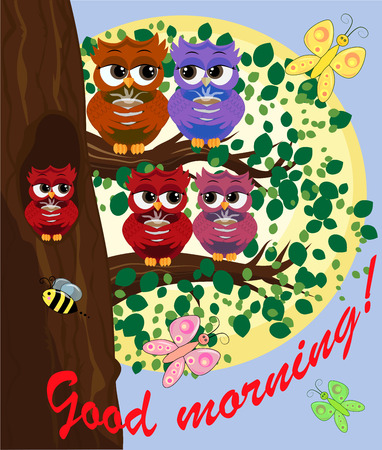 Cute and beautiful owls on the tree with a cup of steaming coffee, tea or chocolate. Ilustração