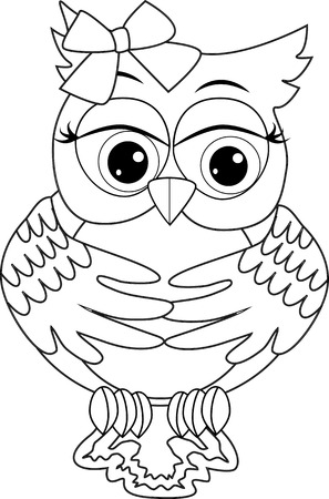 Coloring page with cute owl. Outline drawing Illustration