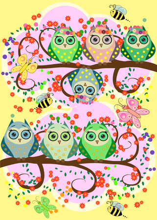 Bright, cartoonish, flirtatious, loving owls on the flowering branches of a tree. Spring, summer, girlfriends Reklamní fotografie - 97551980
