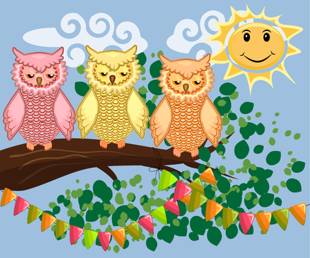 An unhappy, sleepy owl on a tree branch in the morning, the sun shines and smiles. Morning, breakfast