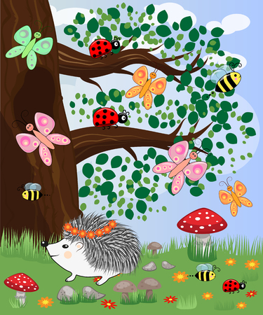 Forest landscape, cartoon illustration with ladybirds, mushrooms, mushrooms, sun, hedgehog, butterflies. Childrens style, greeting card