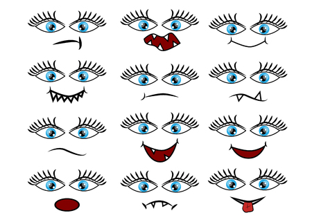 Cartoon faces expression line icons set.